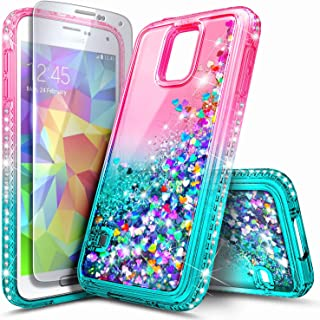 Galaxy S5 Case with Screen Protector for Girls Women Kids, NageBee Glitter Liquid Sparkle Bling Floating Waterfall Shockproof Durable Cute Case for Samsung Galaxy S5 -Pink/Aqua