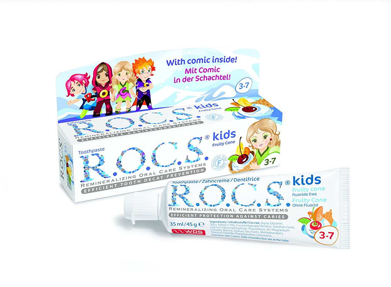 小さい放つ自明R.O.C.S. ロックス歯磨き粉 キッズフルーティコーン3?7歳用
