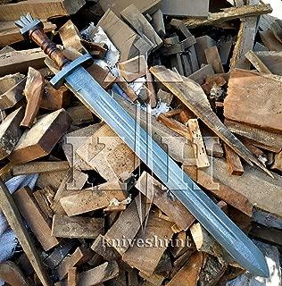 SK-Knives Damascus Knife Custom Handmade - 29 Inches Damascus Steel Viking Sword Ladder Pattern Blade