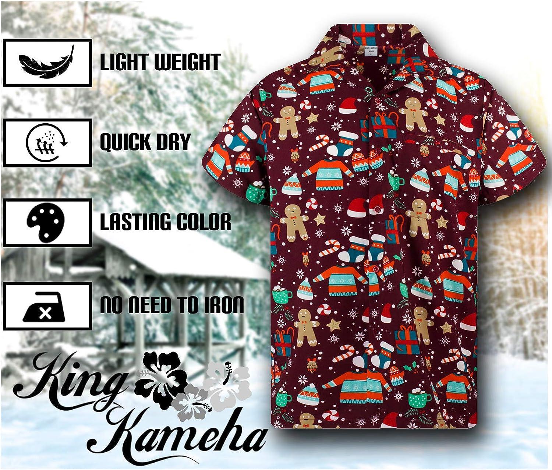 Navidad Mujeres XS-6XL King Kameha Original Camisa Hawaiana Estampado Hawaiano Manga Corta Bolsillo Delantero