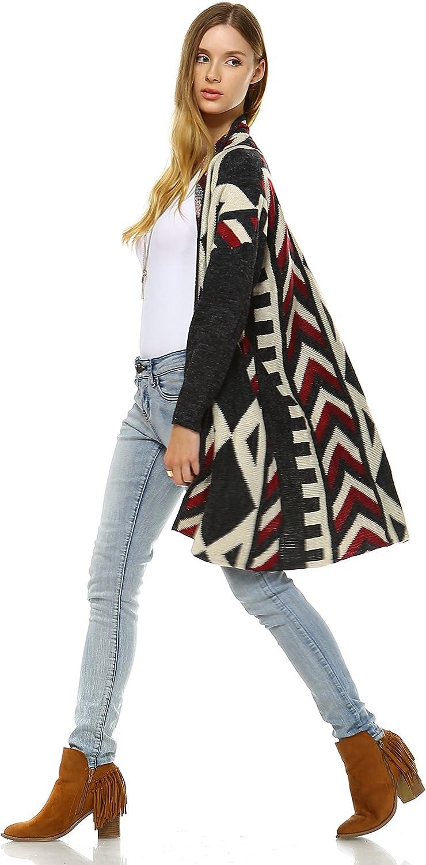 Zoozie LA Women's Aztec Cardigan Tribal Sweater Ponchos Fringes