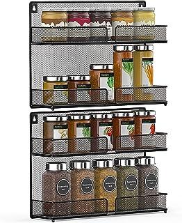 BERYLX 2 Pack kruidenrek organizer, 2 Tier Counter-Top Stand of Wall Mount Ophangplank voor Keukenkast, Cupboard, Pantry D...