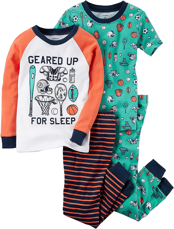 Carter's Boys' 12M-6 4 Piece Sports Gear Pajama Set 12 Months