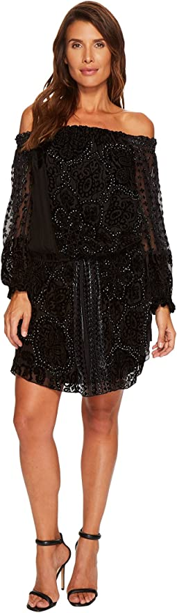 Hale Bob - Masterpiece Theatre Silk Velvet Burnout Off Shoulder Dress