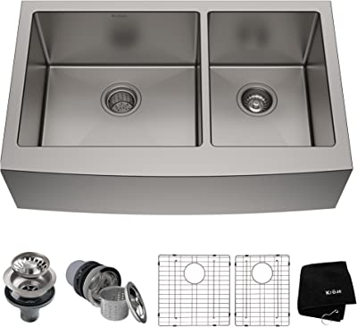"Kraus KHF203-33 Standart PRO Kitchen Stainless Steel Sink, 32.88"", 33 Inch Round Apron 60/40 Double Bowl"