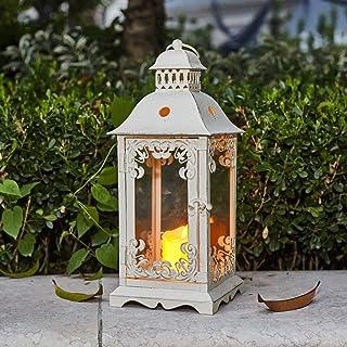 Ninganju 13 Inches Tall Rustic Decorative Candle Lantern White Metal Antique Outdoor Hanging Lanterns Great for Wedding, P...