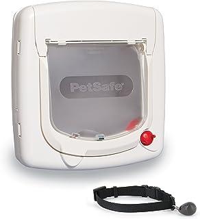 PetSafe Magnetic Key 4-Way Locking Cat Door, Exterior/Interior, White