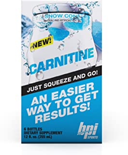 BPI Sports Carnitine Liquid Water Enhancer, Snow Cone, 24 Servings per Bottle, 6 Bottles