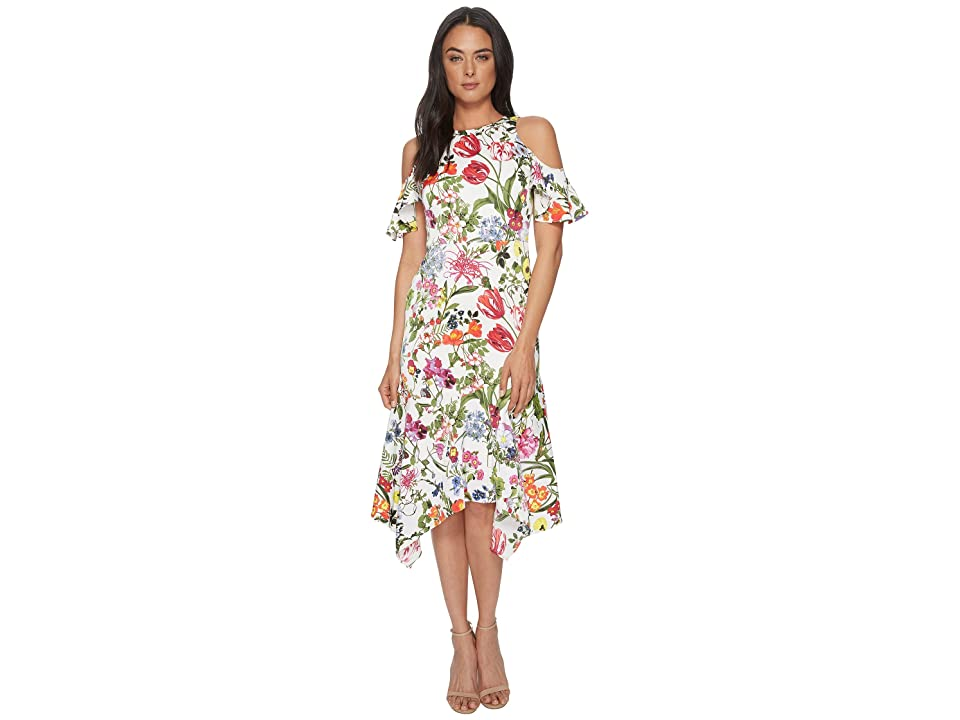 35f10639c61 Maggy London Botanical Bloom Cold Shoulder Fit Flare (Soft White Multi)  Women s Dress