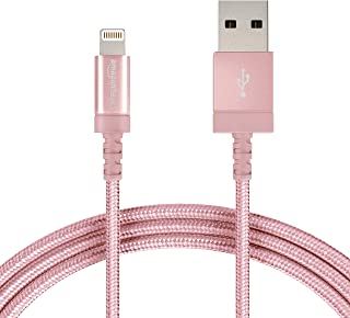 AmazonBasics Nylon Braided Lightning to USB A Cable, MFi Certified iPhone Charger, Rose Gold, 6-Foot