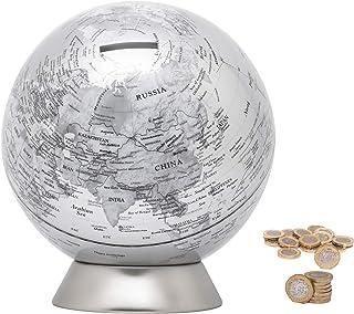 Exerz Skarbonka globus średnica 16 cm/świnka skarbonka, współczesny wygląd metalu, fizyczny wyróżniona mapą, edukacyjna, d...