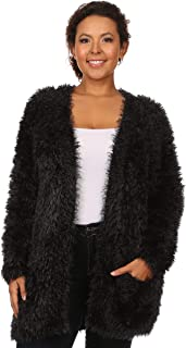 C.O.C. Curve Womens Plus Size High Pile Knit, Open Cardigan with Pockets Black - 2X