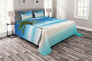 Ambesonne Ocean Bedspread, Idyllic Scenery Seashore Picture Sun Rays View with Palm Tree Tropical Beach, Decorative Quilted 3 Piece Coverlet Set with 2 Pillow Shams, Queen Size, White Green