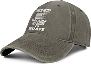 Opsixe 1 Baseball Cap Mens Womens Land The Free Because My Daddy is Brave Hat Snapback