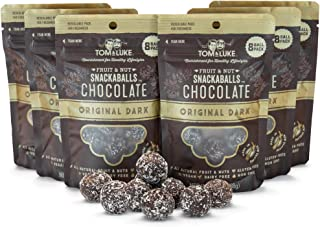 Tom & Luke Healthy Snacks (6 Packs x 8 Balls) - Delicious Original Dark Chocolate Snack Balls for Adults - Gluten Free, Dairy Free, Vegan & No Added Refined Sugar - Whole Food Fruit & Nut Energy Boost