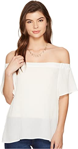Off Shoulder Flounce Sleeve Blouse