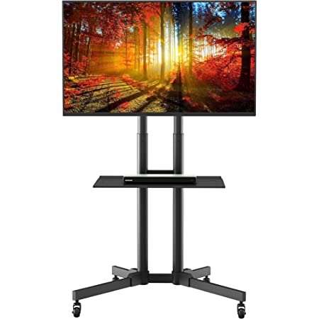 Mobile TV Stand, Rolling TV Stand with Wheels for 32-65Inch LED, LCD, OLED Flat&Curved TVs, Height Adjustable TV Cart with Laptop Shelf and Locking Wheels, Holds Up to 110lbs Max VESA 600x400mm, Black