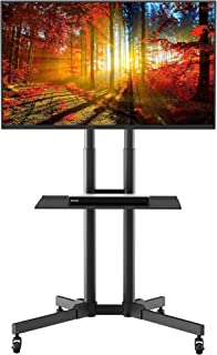 1home Rolling TV Cart Mobile TV Stand with Laptop Shelf & Locking Wheels for 32 to 65 inch LCD LED OLED Plasma Flat Panel ...