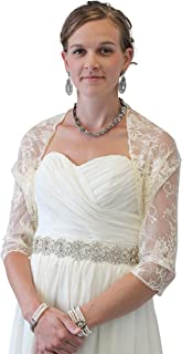 Lace Bridal Bolero Wedding Shawl Champagne