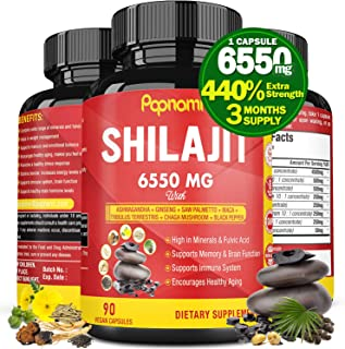 Organic Shilajit Extract Capsules 6550mg with Ashwagandha, Ginseng, Saw Palmetto, Maca, Tribulus, Chaga, Black Pepper|Trac...