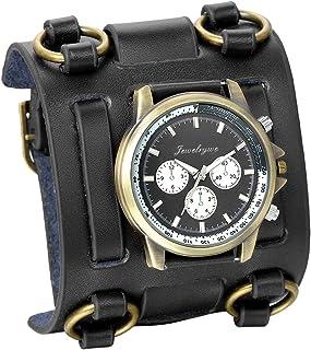 JewelryWe Black Brown Hip-hop Gothic Punk Style Men Watch Wide Leather Fashion Cuff Wristwatch