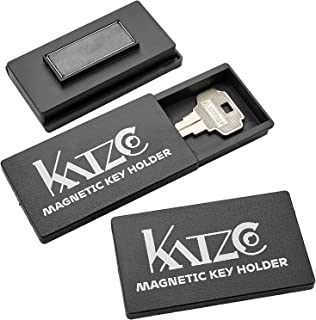 Katzco Magnetic Key Holder – 3 Pack – 1.25 x 2.75 Inches – Rugged Black..