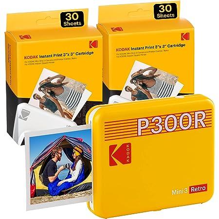 Kodak Mini 3 Stampante Bluetooth portatile per cellulare, 6 cartucce incluse, foto istantanee formato quadrato 76x76 mm, Compatibile iOS e Android - Gialla