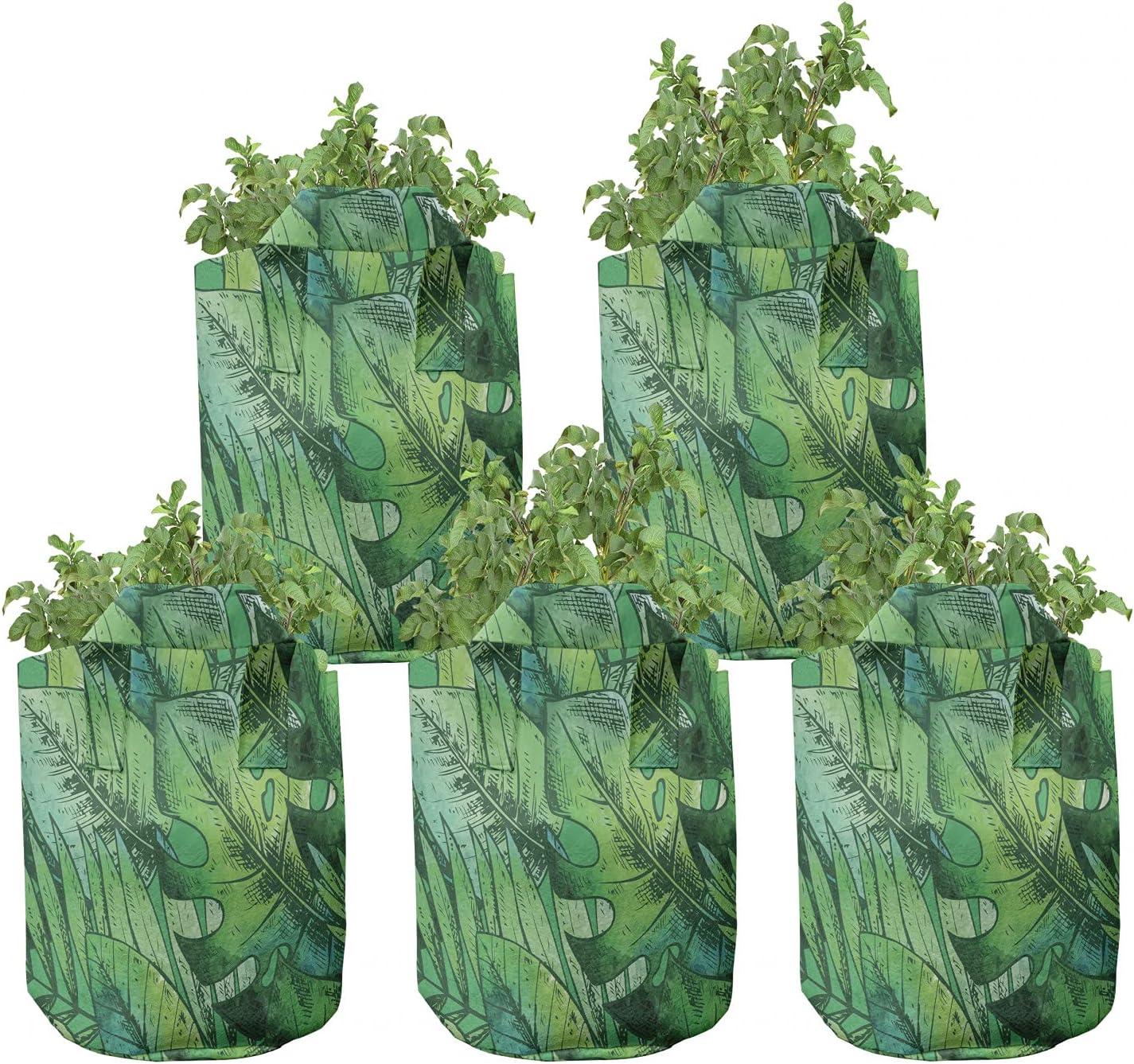 Ambesonne New item Tropical Plants wholesale Grow Bags Summer Leaf Hawaii 5-Pack