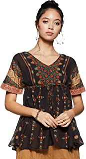 Ritu Kumar Round Neck Half Sleeve Short Printed Kurti with Inner