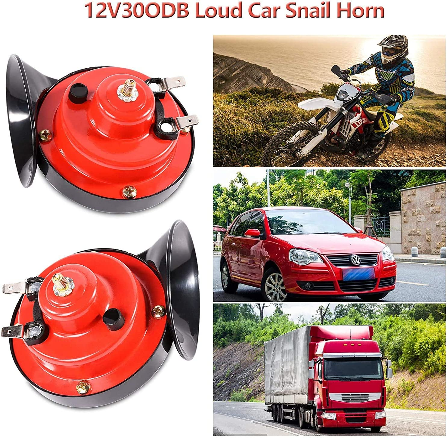 12v Waterproof Double Horn Raging Sound Raging Sound for Motorcycle Car Motorcycle 2 PCS 300DB Super Loud Train Horn for Truck Train Boat Car Air Electric Snail Single Horn