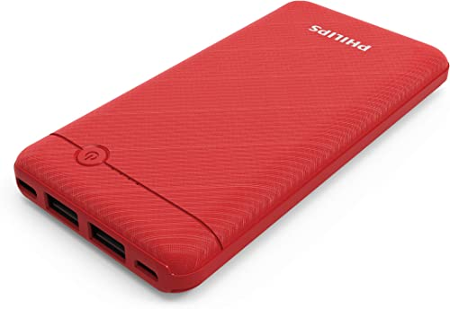 Philips DLP1710CR Fast Charging Power Bank 10000mAh with Lithium Polymer Battery Red Dual USB Output Port with Micro USB and Type c Input