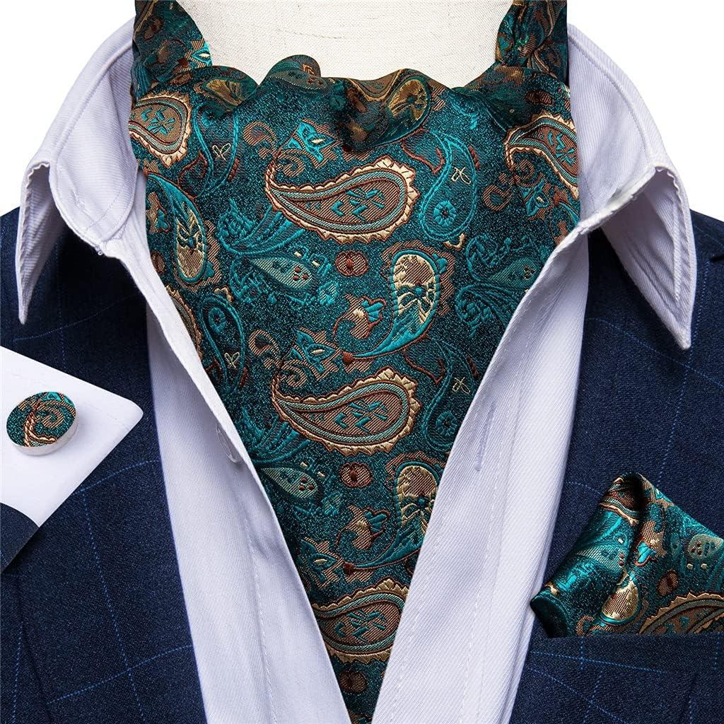 KLHHG Men's Teal Green Paislet Floral Silk Necktie Cravat Pocket Square Cufflinks Set Wedding Party Vintage (Color : A, Size : One size)