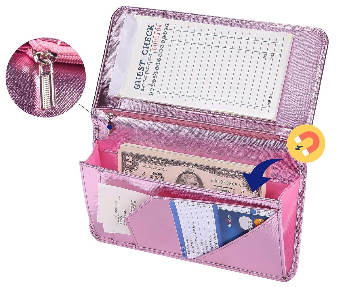 Mymazn Pink Server Book for Waitress Book with Zipper Pocket Server Wallet with Money Pocket and Zipper Pouch Restaurant Waitstaff Organizer, Guest Check Book Holder Money Pocket Fit Server Apron