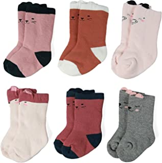Zaples Unisex Baby Socks Soft Thick Cotton Infant Toddler Grow Warm Crew Socks 3/6 Pair Pack