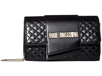 LOVE Moschino Logo Quilted Bag (Black Quilted Soft PU) Handbags