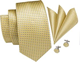 Hi-Tie New Arrival Mens plaid Tie Necktie Pocket Square and Cufflinks Tie Set Gift Box