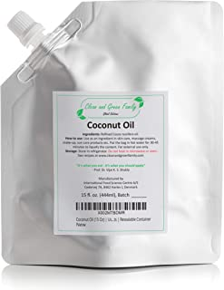 Refined Pure Coconut Oil (15 Oz)   DIY Skin Care Products, Lip Gloss, Face Mask, Hair Mask, Massage Oil, Shampoo Condition...