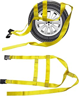 2X Car Basket Straps Adjustable Tow Dolly DEMCO Wheel Net Set Flat Hook Standard Wheels Fits (13-19 Inches, Yellow)
