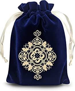 MIRIYAN Spiritual Mandala Tarot & Dice Bag I Velvet & Satin Drawstring Pouch Ideal Size for Tarot & Oracle Cards, DnD, D&D, Dungeons and Dragons Accessories, Runes, Coins & Jewelry I Travel & Gift Bag