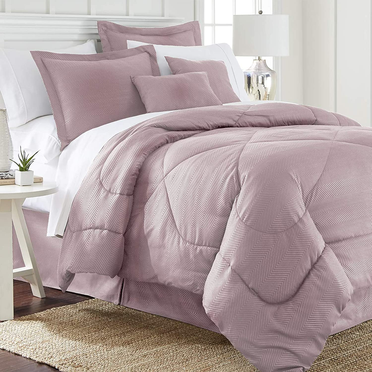 SPIRIT LINEN HOME Six Piece Embossed Chevron Comforter Set, Queen, pink