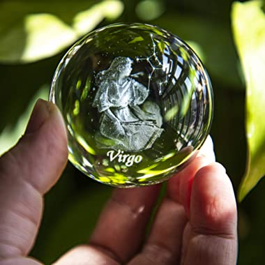 3D Inner Carving Constellation Ball Crystal Paperweight Full Sphere Glass Fengshui With Sliver-Plated Flowering Stand(Virgo)
