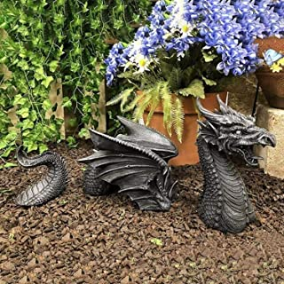 Large Dragon Gothic Garden Decor Statue - The Dragon of Falkenberg Castle Moat Lawn Statue, Garden Sculptures & Statues, F...