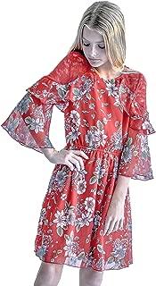 Big Girls Tween Beautiful Floral Printed Long Sleeves Dresses (with Options), 7-16