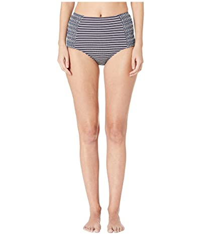 Jonathan Simkhai Striped Smocked High-Waisted Bikini Bottoms (Midnight Stripe) Women