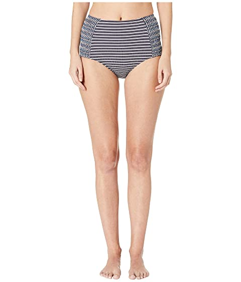 Jonathan Simkhai Striped Smocked High-Waisted Bikini Bottoms