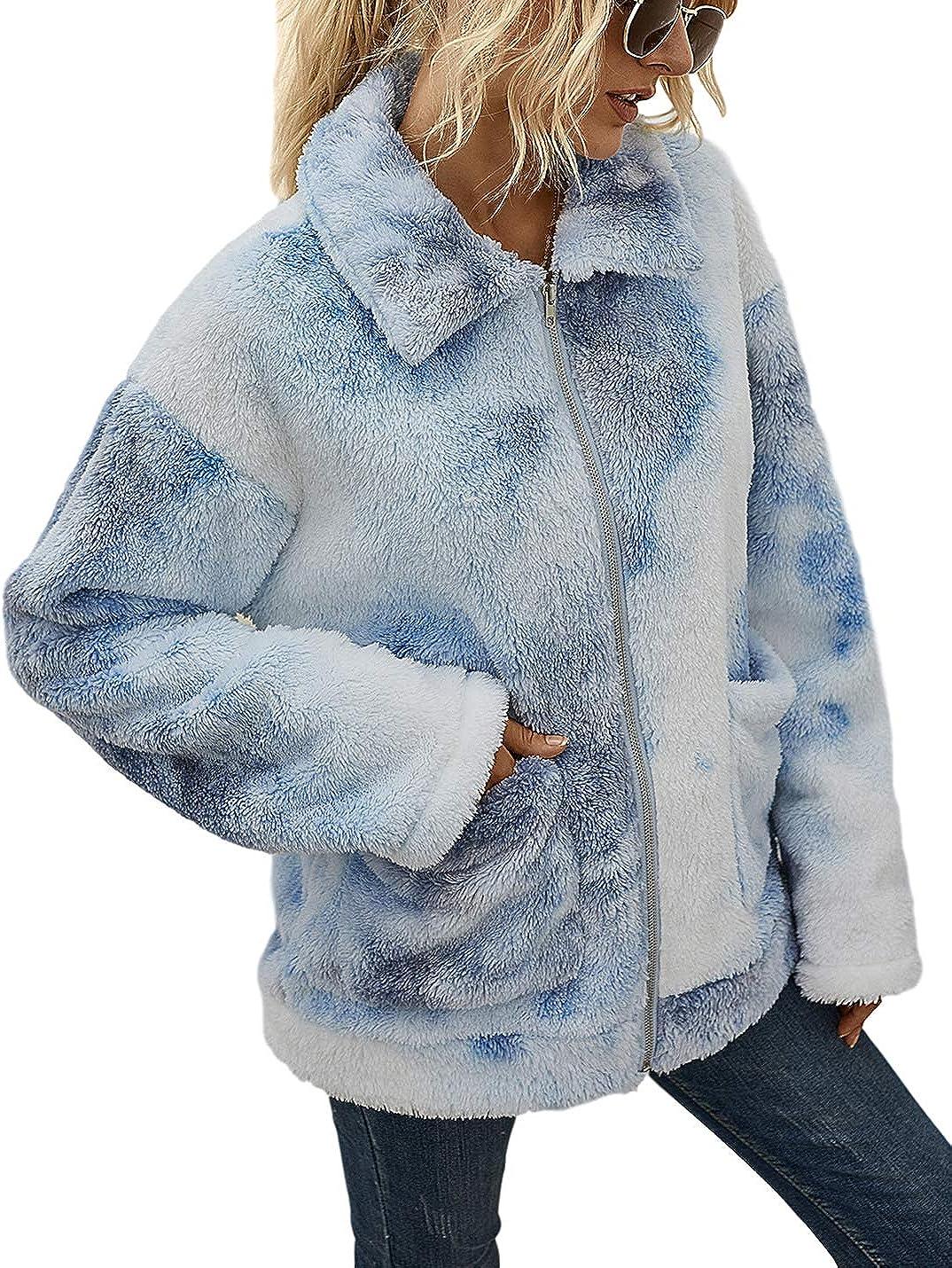Uaneo Womens Tie Dye Fleece Casual Loose Lapel Zip Up Long Sleeve Jacket Coat(Blue-M)