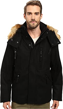 Fremont Pressed Wool Puffer Bomber w/ Removable Hood