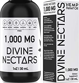 Hemp Oil Drops by Divine Nectars Organic Hemp Oil 1000mg Hemp Oil for Pain Relief Stress Relief Mood Support Anxiety Relie...