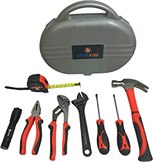 Active Kyds 9 Piece Kids Tool Set with Real Tools: Fiberglass Hammer, Tape Measure, Pliers, Screwdrivers, LED Flashlight, Adjustable Wrench and Pliers, and Carry Case