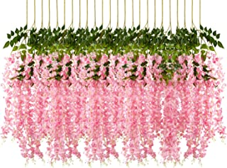 Pauwer 24 Pack (86.6 FT) Artificial Wisteria Vine Ratta Fake Wisteria Hanging Garland Silk Long Hanging Bush Flowers String Home Party Wedding Decor (Pink)